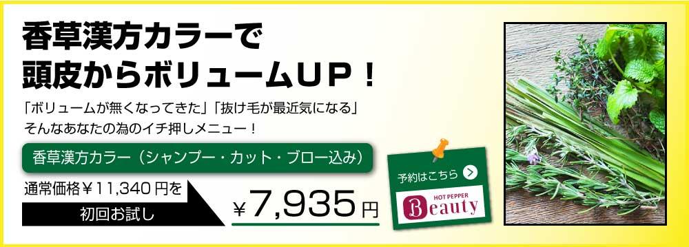 粕屋町美容室香草漢方カラークーポン