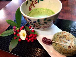 梅ヶ枝餅,抹茶